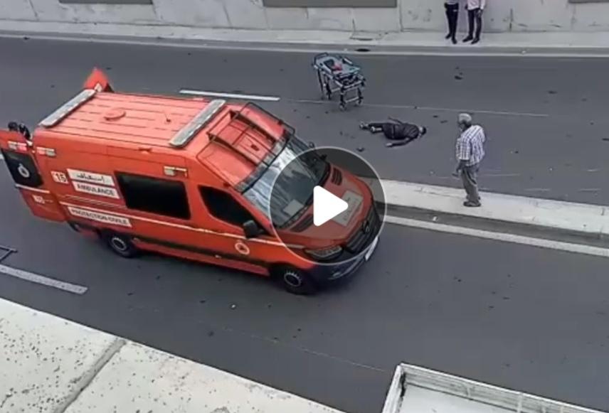حادثة سير خطيرة لشابين بدراجة c90 عند مدخل نفق غاندب